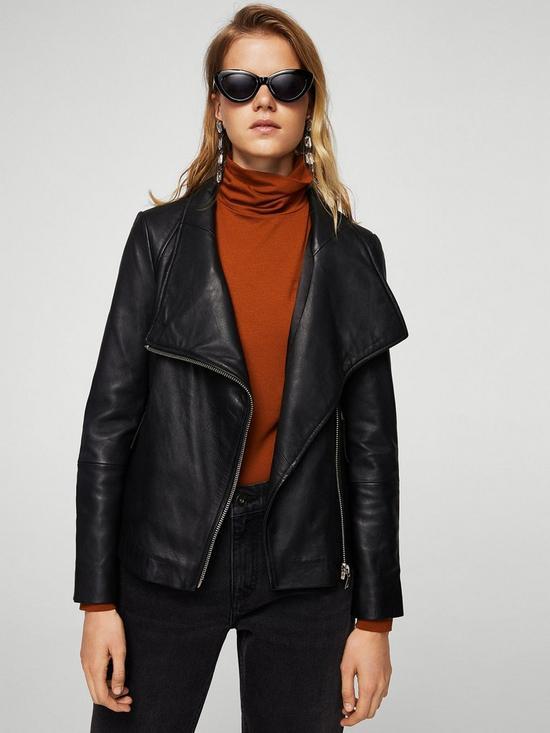 Mango Leather Jacket - Black | very.co.uk