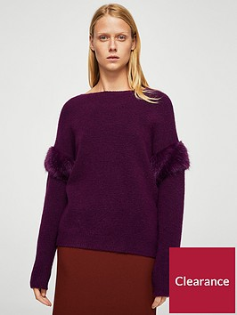 mango-faux-fur-sleeve-knit-purple