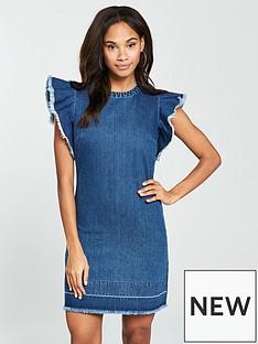 v-by-very-raw-edge-frill-denim-tunic-dress