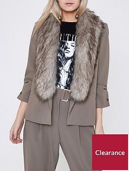 ri-petite-faux-fur-collar-blazer--taupe