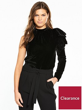 river-island-river-island-one-shoulder-velvet-top--black
