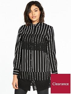 river-island-river-island-lace-panel-shirt--black-stripe