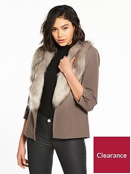 river-island-river-island-faux-fur-collar-blazer--grey