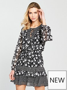 v-by-very-tiered-frill-lace-up-skater-dress-monochromenbsp