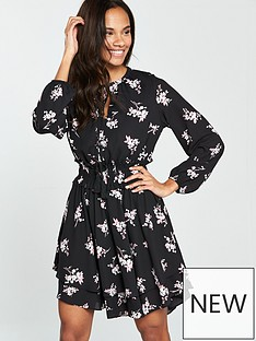 v-by-very-tie-neck-double-layer-skater-dress