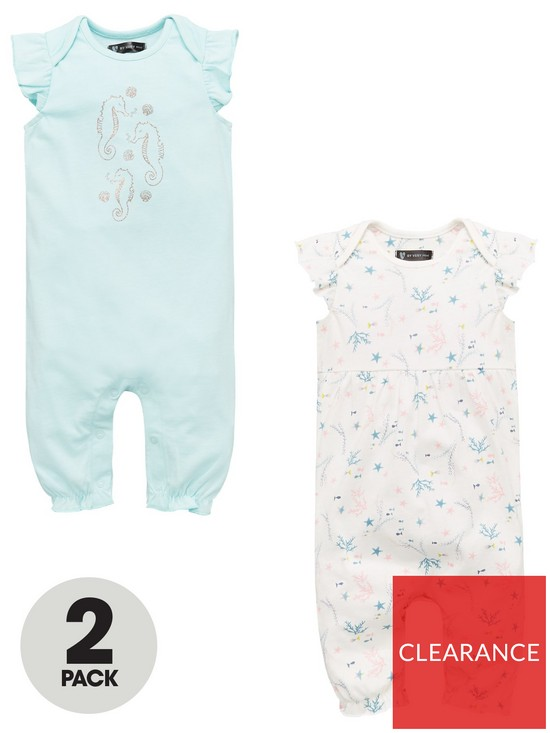 93a1e6772 Mini V by Very Baby Girls 2 Pack Short Sleeved Rompers - Multi ...