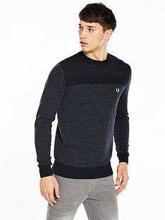 fred-perry-tonal-panel-crew-neck-jumper