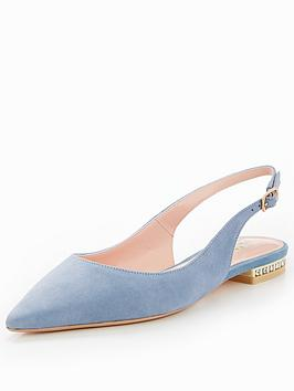 Dune London Brey Flat Point Slingback Pearl