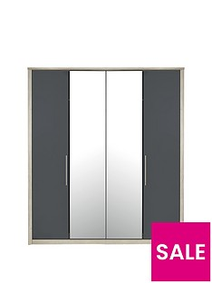 Consort Jupiter 4 Door Mirrored Wardrobe