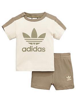 adidas-originals-baby-short-and-tee-set-browncreamnbsp