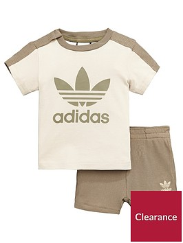 adidas-originals-baby-short-and-tee-set-browncreamnbsp