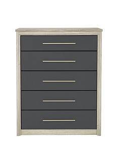 Consort Jupiter Ready Assembled Jupiter Wide 5 Drawer Chest
