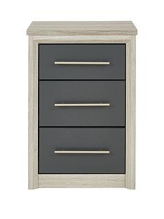 Consort Ready Assembled Jupiter 3 Drawer Bedside Chest