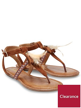 joe-browns-gladiator-t-bar-sandals-with-feather-embellishment-tan