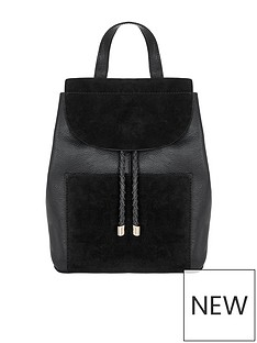 accessorize-cara-leather-black-backpack