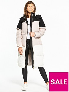 miss-selfridge-colourblock-maxi-quiltednbspcoat-multinbsp