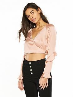 miss-selfridge-petite-wrap-sleeve-detail-blouse