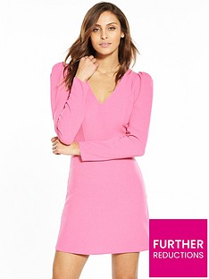 miss-selfridge-puff-shoulder-v-neck-dress-pink