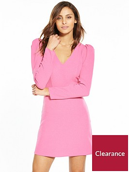miss-selfridge-puff-shoulder-v-neck-dress-pink