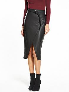 miss-selfridge-pu-buckle-wrap-skirt-black