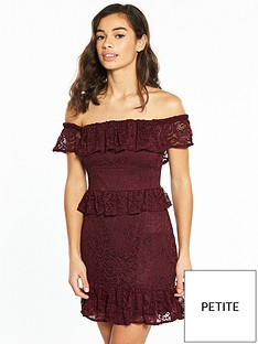 miss-selfridge-petite-lace-bardot-dress