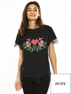 v-by-very-petite-lace-hem-slogan-t-shirt-black