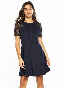 v by very petite lace & scuba prom dress