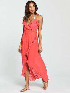 v-by-very-chiffon-ruffle-wrap-maxi-beach-dress