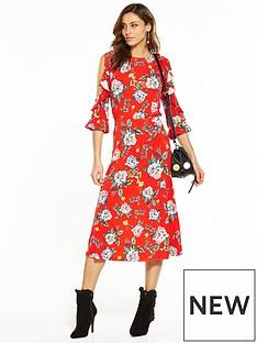 v-by-very-cold-shoulder-printed-midi-dress