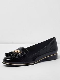 river-island-river-island-wide-fit-patent-tassel-loafer--black