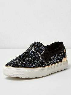 river-island-river-island-fur-lined-tweed-slip-on-pump