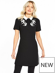 oasis-embroidered-bird-and-lace-shift-dress-black