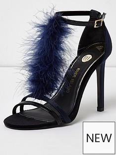 river-island-feather-t-bar-strappy-high-heels--navy