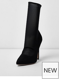 river-island-river-island-pointed-mesh-sock-court-boot--black