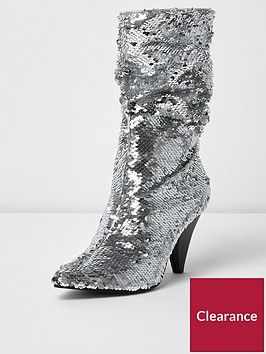 river-island-sequin-slouch-boots--silver