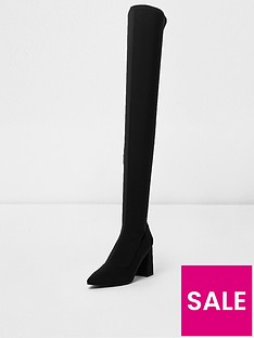 river-island-river-island-over-the-knee-block-heel-sock-boot--black
