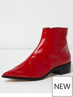 river-island-pointed-ankle-boot--red