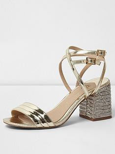 river-island-river-island-metallic-diamante-block-heel-sandal--gold
