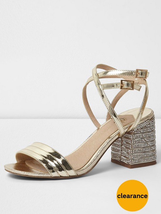 River Island River Island Metallic Diamante Block Heel Sandal- Gold |  very.co.uk