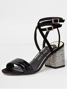 river-island-river-island-metallic-diamante-block-heel-sandal--black
