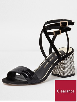 river-island-river-island-metallic-diamante-block-heel-sandal--black