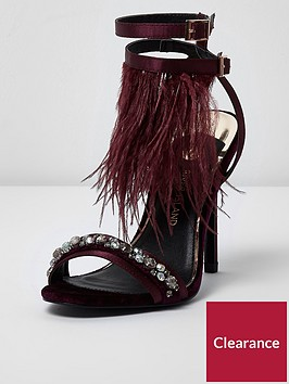 river-island-river-island-feather-embellished-sandals--dark-red