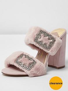 river-island-river-island-faux-fur-diamonte-block-heel-mule--pink