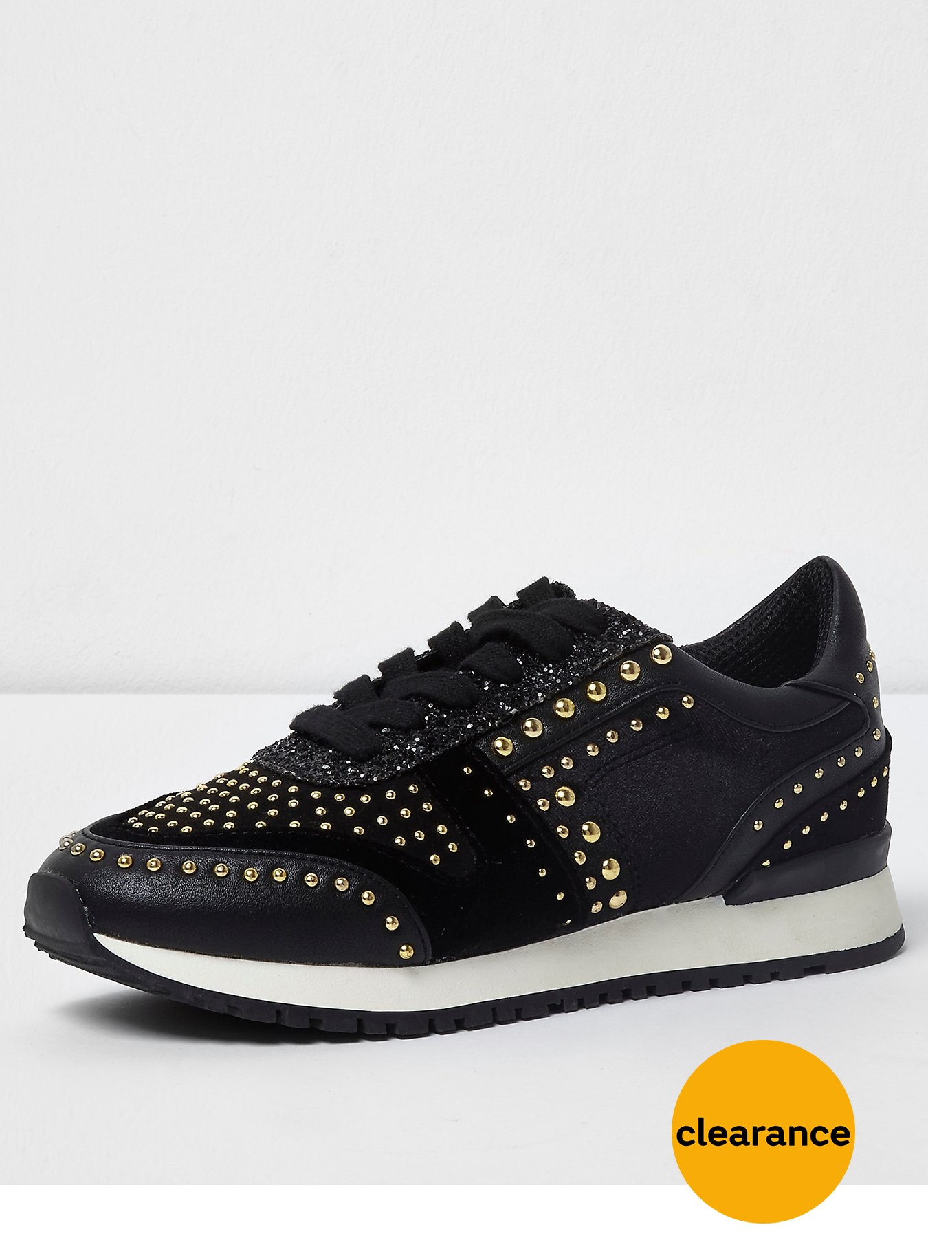 River Island Studded Trainers Black 1600220623 Women's Shoes River Island Trainers