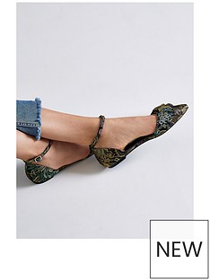 river-island-river-island-floral-jacquard-knot-two-part-pointed-shoe--black