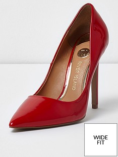 river-island-river-island-wide-fit-patent-court-shoes--red