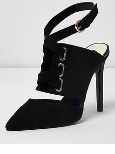 river-island-tie-up-court-shoes--black