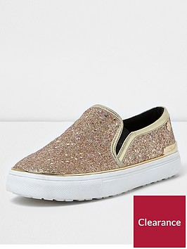 river-island-glitter-slip-on-plimsoll