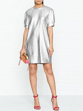 ps-paul-smith-metallic-short-sleeve-dress-silver