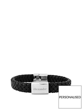 keepsafe-gents-black-leather-personalised-bracelet